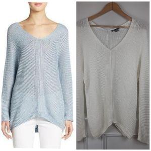 VINCE Double V Neck Open Knit Linen Sweater XS